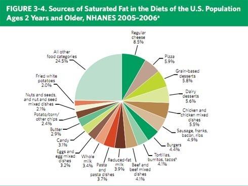 תרומת קבוצת המזונות מהחי למקורות השומן הרווי. מוצרי חלב: 30.2%; בשר וביצים: 22.1%. קרוב לוודאי שגם...